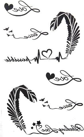 2012 neue Design Das neue Release t?towieren Aufkleber wasserdicht weibliche schwarze und wei?e Buchstaben des Alphabets EKG Feder Fake Tattoos