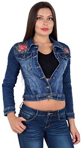 by-tex Damen Jeansjacke Damen Jeans Jacke mit Blumen Stickerei lang große Größen bis Übergröße M03 - Stickerei-lange Jacke