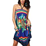 Xyhbava Damen Sommer Ärmellos Minikleid Schulterfrei Bandeau Strandkleid Blumen Beachwear Sommerkleid (L, Blau)