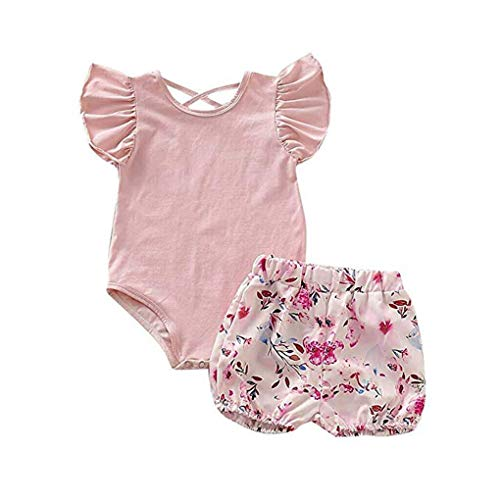 LONGFEI Neugeborenes Baby Gekräuselte Fliegende Hülsen-Overall-Trikotanzug-Oberseiten-Blumenshort-Hosen-Sommer-Kostüm 0-24M