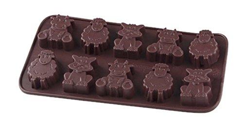 Dr. Oetker 2503 Confiserie Moule pour Chocolat avec Motifs Animaux Silicone Marron 20,5 x 11 x 1 cm
