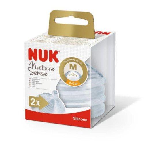 NUK, Nature Sense, tettarelle per biberon, in silicone, flusso medio (0-6mesi), senza Bisfenolo A (lingua italiana non garantita)