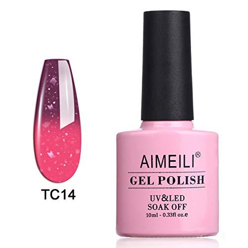 AIMEILI UV LED Gellack Thermo Nagellack ablösbarer Temperatur Farbwechsel Gel Nagellack Gel Polish - Violet Villain (TC14) 10ml