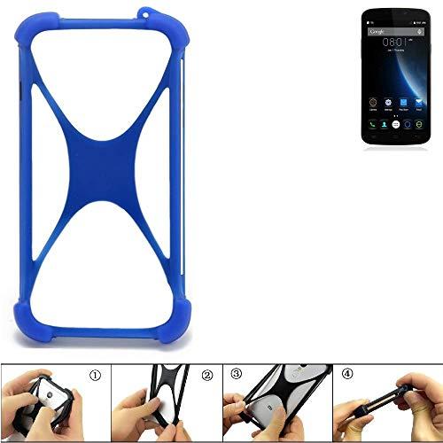 K-S-Trade Bumper für Doogee X6S Silikon Schutz Hülle Handyhülle Silikoncase Softcase Cover Case Stoßschutz, blau (1x)