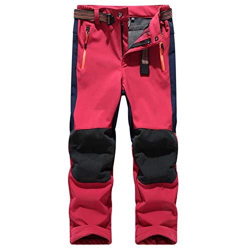 Belloo Jungen Softshellhose Atmungsaktiv Winddichte Wander Outdoorhose,Rot 152-158
