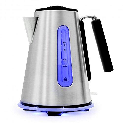 Klarstein Aquavera Elektrischer Wasserkocher aus Edelstahl (Wasserstandsanzeige, Cool-Touch-Griff, Basisstation mit Leuchtanzeige, Füllmenge von 1,7 Litern) - silber