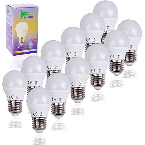 BIHRTC 12 Stück 5W E27 G45 LED Lampen Leuchtmittel Kaltweiß 6000K-6500K Schraube LED Glühbirne Energiesparlampe ersetzt 40W Glühlampen,220V-240V 400 Lumen 220° Abstrahwinkel Nicht dimmbar LED Birnen -