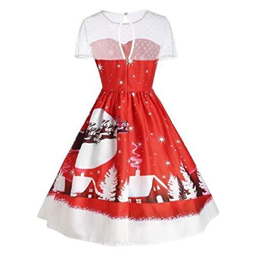 (Luckycat Damen Vintage Weihnachten O Neck Bedruckt Kurzarm A Line Swing Dress Abendkleider Cocktailkleid Partykleider Blusenkleid Mode 2018)