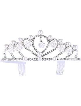 Frcolor Bride Crown Girl tiara Princess Crown Crystal Pearl capelli accessori per feste e matrimoni