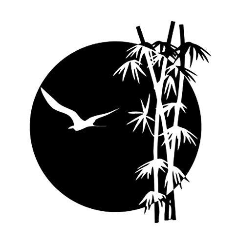 ZZYQING Auto Aufkleber interessante Adler fliegen zum Mond an der Seite des Bambus Baum Vinyl exquisite Fenster Aufkleber 14 5x17 cm 2 Stück -