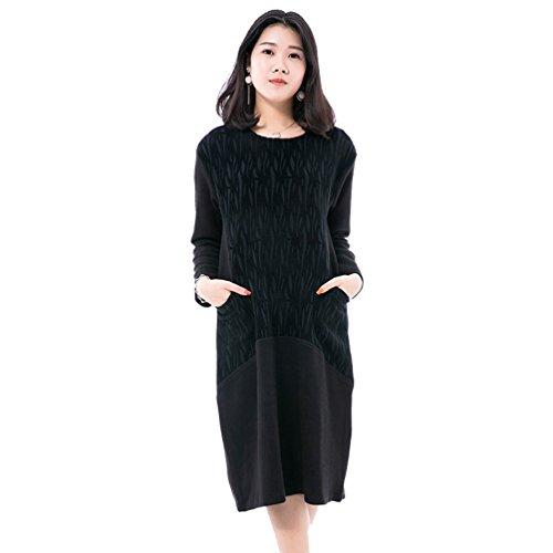 NiSeng Donna Casual Collo Rotondo Maniche Lunghe Vestito Autunno E Inverno Vestito Eleganti Loose Lunghe Vestito Nero 2 #