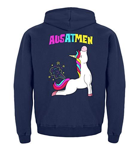 Einatmen Ausatmen Einhorn Yoga Unicorn Einhörner Regenbogen Geschenkidee Lustig Spruch Motiv T-Shirt - Kinder Hoodie (Lustige College Party Kostüme)