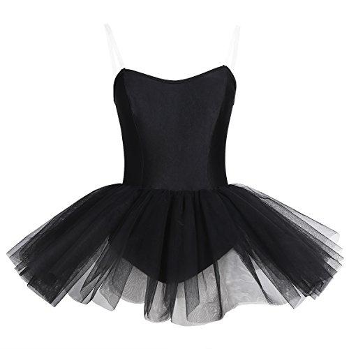 YiZYiF Damen Ballettanzug Ballettkleid Ballett Trikot Turnanzug Damen Kleider Schwarz Ballettkleidung Tütü Ballerinas Kostüm Schwarz X-Small (Ballerina Kleid Kostüm)