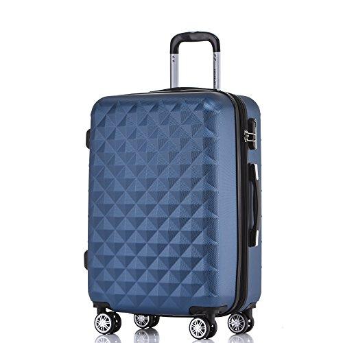 BEIBYE Zwillingsrollen 2066 Hartschale Trolley Koffer Reisekoffer Gepäck M-L-XL-Set (Blau, L)
