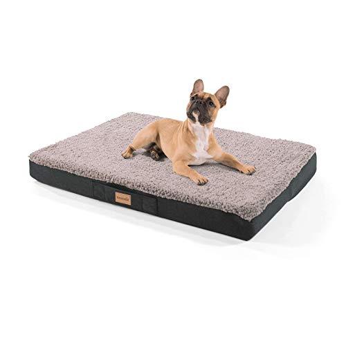 brunolie Balu mittleres Hundebett in Grau, waschbar, orthopädisch und rutschfest, kuscheliges Hundekissen mit atmungsaktivem Memory-Schaum, Größe M (79 x 60 x 8 cm)