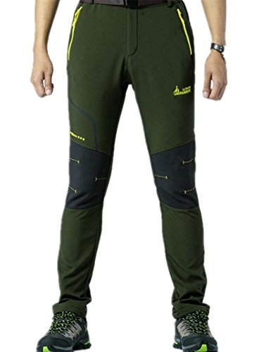 Alamor Mens Outdoor Elastic Hose Casual Wasserdicht Warm Thick Soft Shell Lovers Assault Pants-Green-L