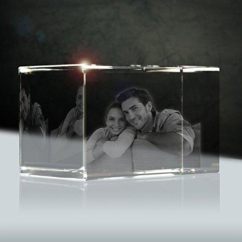 Glas Portrait (Glas Portrait von deiner Vorlage (2D)  Größe: 90x60x60mm (medium)   Form: Quader)