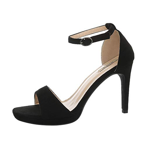 Ital-Design Damenschuhe Sandalen & Sandaletten High Heel Sandaletten Synthetik Schwarz Gr. 38 Stiletto Heel Slingback