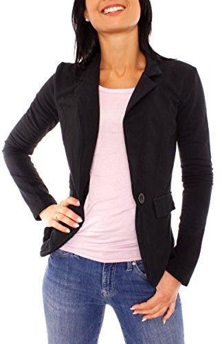 Easy Young Fashion Damen Sommer Sweat Jersey Blazer Jacke Sweatblazer Jerseyblazer Sakko Kurz Ungefüttert Langarm Uni Einfarbig Schwarz S - 36 (M)