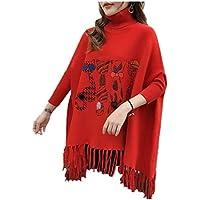 HYW Suéter De Cuello Alto, Blusa, Largo Bordado En La Cabeza, Capa, Chal, Suéter De Borla Suelta En Otoño E Invierno,Rojo,Un tamaño