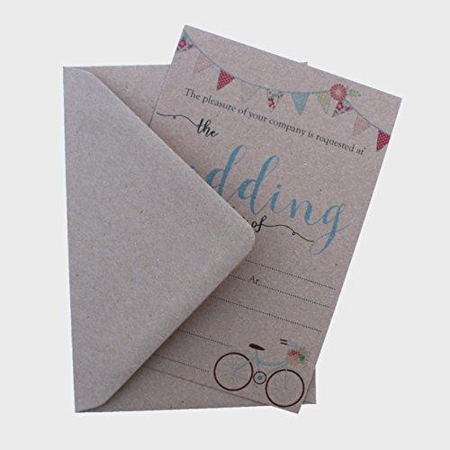 Einladungen zum Hochzeitsempfang mit Umschlägen, im Vintage-Look, mit englischer Aufschrift, 10 Stück