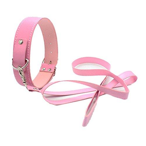 Omos Damen Halsbänder Mit Leder Ketten Fetisch SM Spielzeug ,1 Stück (Pink)