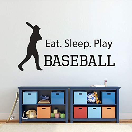 haochenli188 Baseball Eat Sleeping Spielen DIY Wandaufkleber Baseball Fans Schlafzimmer Vinyl Wandtattoo Kinderzimmer Wohnkultur 83x42 cm