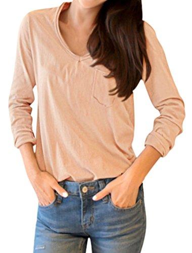 sourcingmap Femme Col V Manches Longues Poche Poitrine T-Shirt Rose