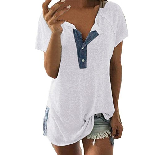 Damen Sommer T-Shirt Casual Kurzarm Oberteil Tops Bluse Shirt Farbblock Baumwoll T-Shirt mit Tasche Streifen Sommer Top Oberteil LANSKIRT (XXXXL, Weiß)