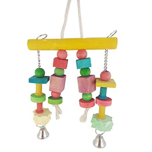 Bird Kauspielzeug, bunt, Holz Langlebig zum Aufhängen Blocks Bead String Bite Molar L mittel- und Small Pet Bird Ständer Rack Play Spielzeug Parrot Supplies (Sittich Käfig Auf Ständer)
