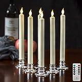 Satz von 6 flammenlose Elfenbein batteriebetriebenen led stabkerzen timerfunktion Weihnachtsfenster Kerzen mit fernbedienung - Kerzenhalter enthalten
