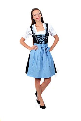 3tlg. Dirndl Set Schwarz Hellblau mit Bluse und Schürze, Gr. 38