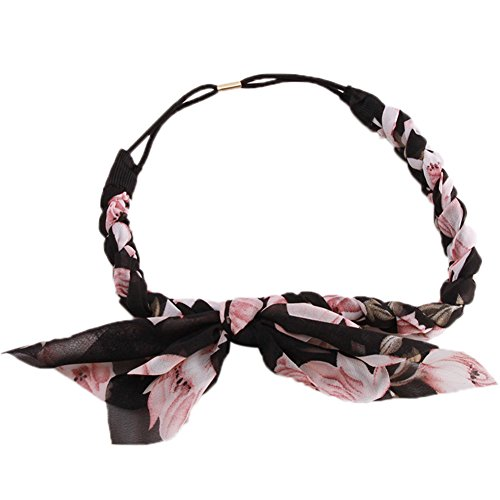 Yingwei Frauen Haarreifen elastische Chiffion verknotet Kaninchen Stirnband (Schwarz)