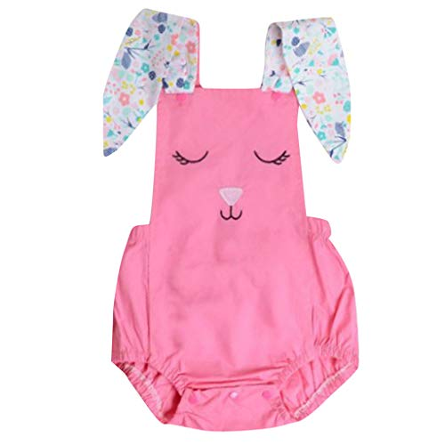 REALIKE Kinder Mädchen Baby Ärmellos-Body im Mode Kaninchen-Muster Großes Ohr Jumpsuit Elegant Einfarbig Taste Achselbody im Sommerkleid Prinzessin Ostern ()