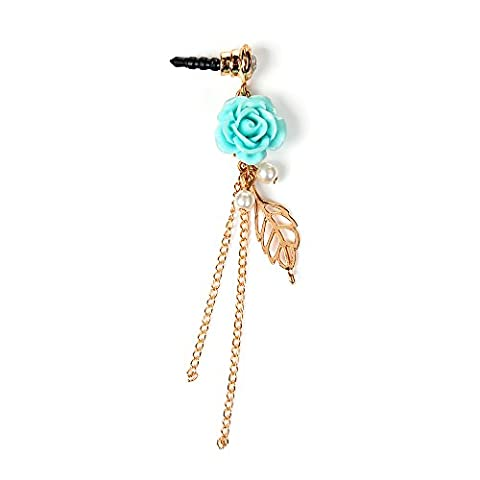 Mavis's Diary Dustproof Plug - Bling Diamonds Gems Earphone Jack Accessories /Cell Charms /Dust Plug /Ear Jack for iPhone SE 5S 6 6S 6s Plus / iPad/ ipod Touch / Samsung Galaxy/ HTC /Huawei Other 3.5mm Ear Jack ( Blue Rose with Gold Leaves
