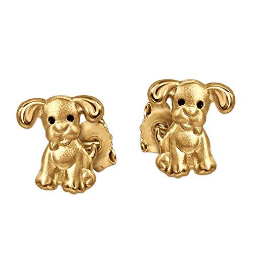 CLEVER SCHMUCK Goldene Kleine Ohrstecker Mini Hund 6 mm mit Schwarzen Augen Matt und glänzend für Kinder 333 Gold 8 Karat
