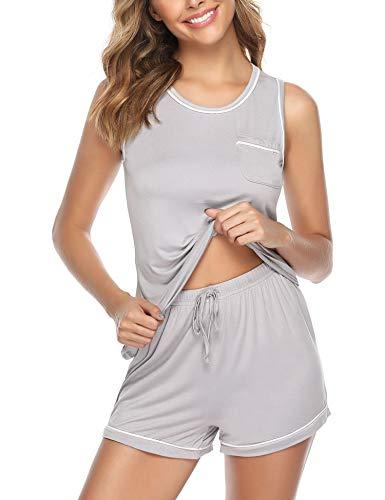 Nachtwäsche Damen Pyjama Kurz Zweiteilige Schlafanzug Sleepwear Sets Sleepshirt Nachtwäsche mit Ärmlos Tanktop und Shorts (Damen-pyjama)
