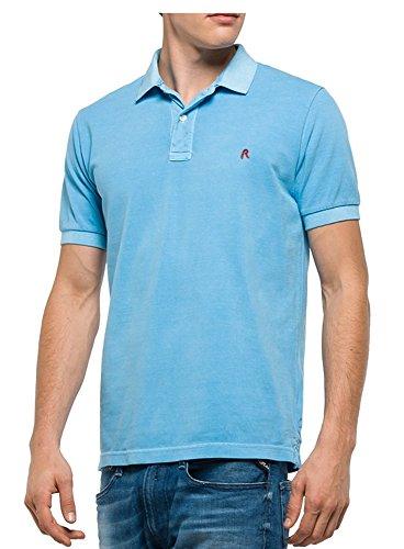 REPLAY Uomo Enzima Lavaggio Polo Tshirt Bebè Blu M