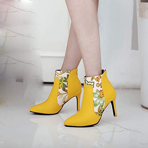 Junjie Mode Damen Schuhe Zurück Reißverschluss Zipper High Heel Lederstiefel Bedruckt Spitze Stiletto Stiefeletten Schwarz, Gelb, Weiß