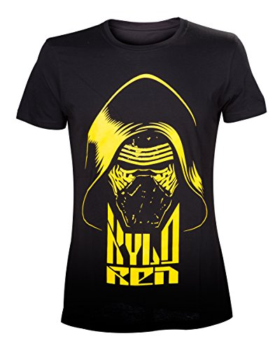 Star Wars The Force Awakens Adult Male Kylo Ren Yellow Face, Camiseta para Hombre, Negro (Black), Large