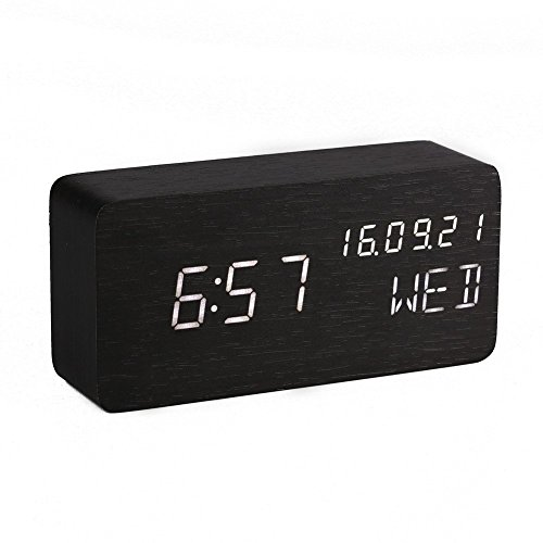 Digitaler Wecker Hölzerner, Leise LED-Anzeige Einstellbare Helligkeit / Sound Control, Tischuhr Indikator Kalender Zeit und Temperatur für Haus und Büro (Schwarz)