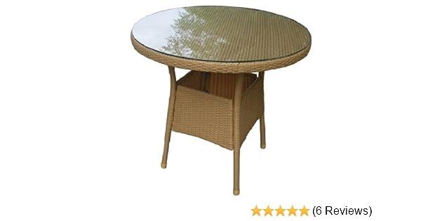 Amazon.de: Gartentisch Balkontisch rund, Rattantisch, Beistelltisch ...
