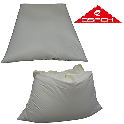 QSack Sitzsack Inlett mit Deutscher Qualitätsfüllung, 400 Liter deutsche Sitzsack Füllung ohne HBCD, Innensack 130 x 170 cm