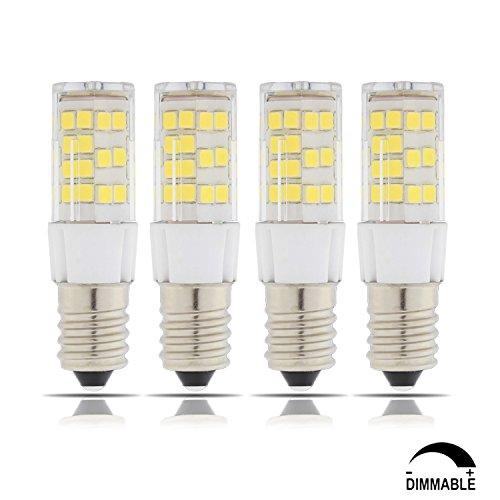 TAMAYKIM 5W Dimmbar E14 Fassung LED Scheinwerfer Mais Glühbirne, 4500K Neutralweiß 450LM SMD 2835, 50W Entspricht Halogenlampen, AC 220V-240V, 360° Abstrahlwinkel, 4er-Pack (Birne Keramik-gelbe)