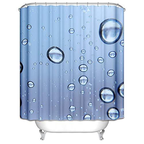 Aeici Duschvorhang 150X200CM Wassertropfen Polyester Badvorhang Anti-Schimmel Blau Antibakteriell Wasserdicht