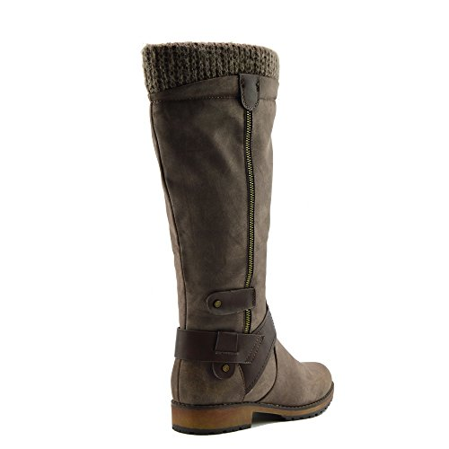 Donne Basse Blocco Tacco Zip Stivali Invernali a Cavallo Elastico Ampia Albero Scarpe Marrone