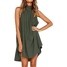 96ce44c34ff1 Rosennie Urlaub unregelmäßige Kleid Damen Sommer Ärmellos Trägerkleid  Strand Rückenfrei A-Linie Festliches Kleid Beachwear