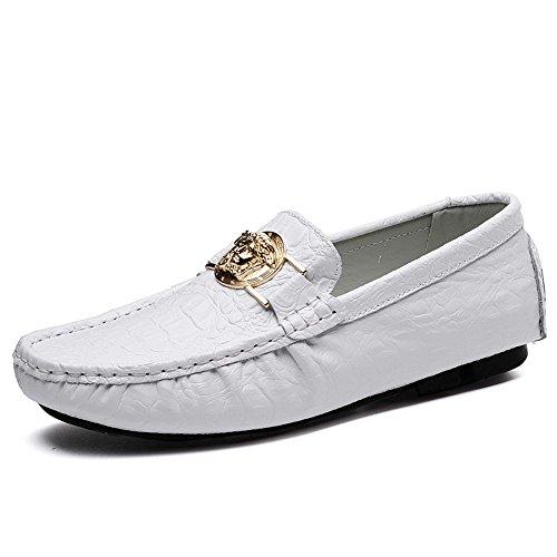 TYLS Shoes lww-Scarpe uomo scarpe di guida in pelle Testa tonda colore solido bocca poco profonda White