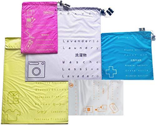 Set 5 Sacchetti Valigia Organizer 5 Colori DK Seletti Italy Salvaspazio Ultraleggero Ordine Kit Buste da Viaggio Porta Accessori Trolley Travel Bags