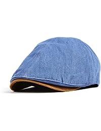 WITHMOONS Sombreros gorras Boinas Bombines Denim Newsboy Hat faux leather brim Flat Cap SL3017